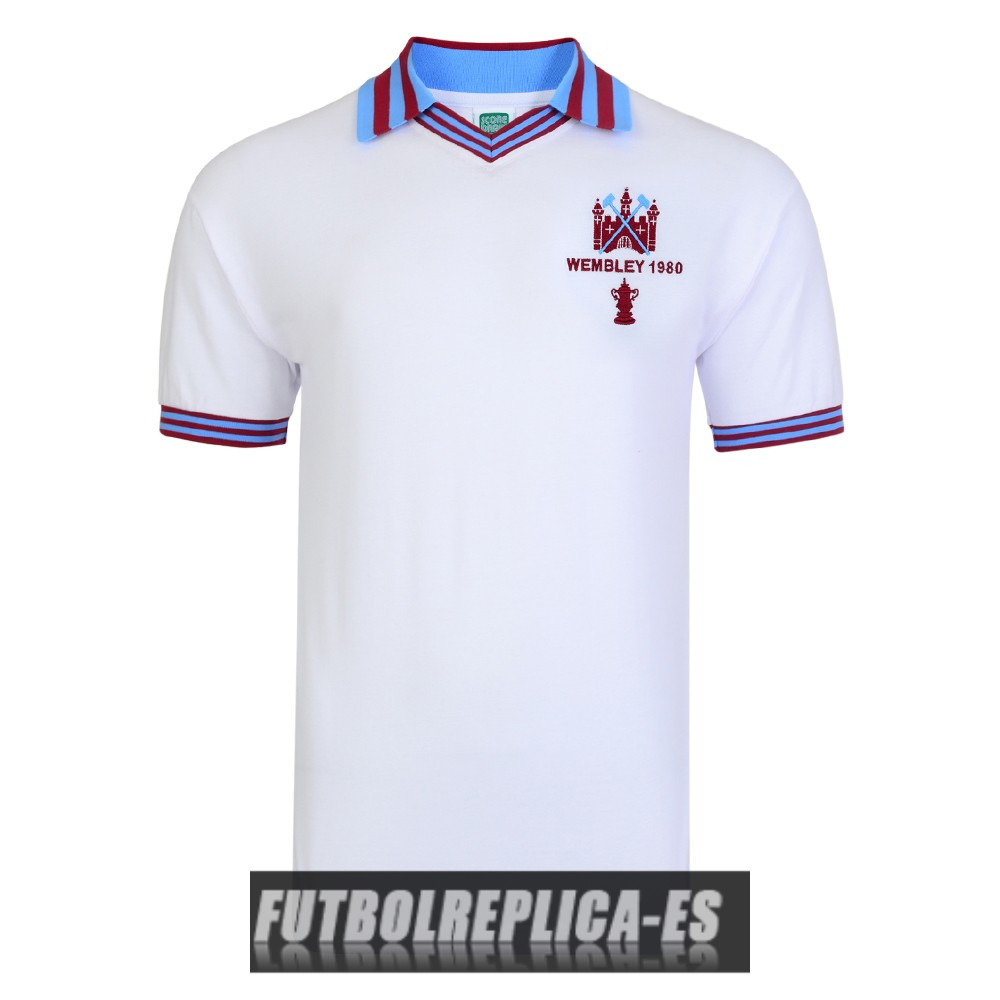 blanco west ham united champions camiseta retro 1980